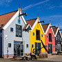 beautiful colored wooden houses of zoutkamp